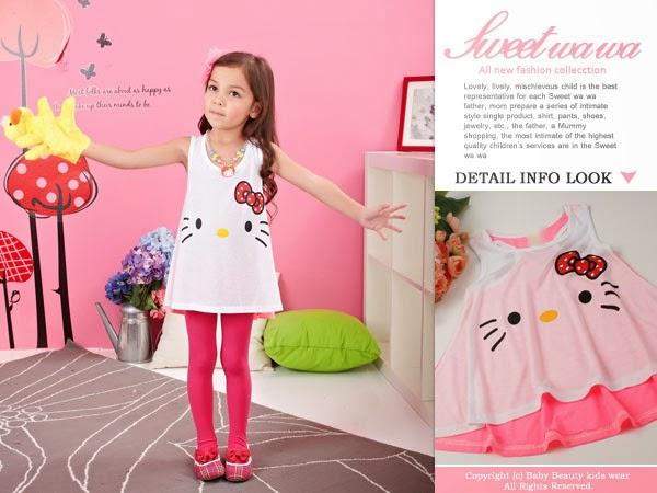 เสื้อเด็กผู้หญิง หน้าน้องแมวโบว์แดง สีขาว-ชมพู