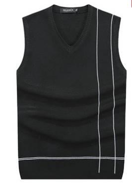 เสื้อกั๊กไหมพรมผู้ชาย เส้นข้าง Size No.37-39-41- 43 หลากสี ดำ