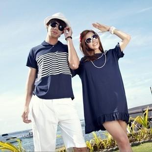เดรสคู่รักเกาหลี แฟชั่นคู่รัก วันหยุดพักร้อน ชายเสื้อยืดคอปก หญิงเดรสตัวใหญ่ สีกรม