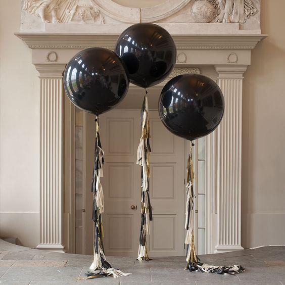 """ลูกโป่งกลมจัมโบ้ไซส์ใหญ่ 36"""" Latex Balloon RB ONYX BLACK 3FT สีดำ/ Item No. TQ-42857 แบรนด์ Qualatex"""
