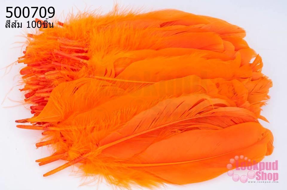 ขนนก(ก้าน) สีส้ม 100ชิ้น