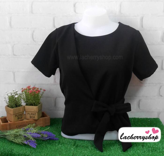 เสื้อผ้าแฟชั่น เสื้อทำงาน สีดำ เอวมัดโบว์เก๋ๆ ผ้าฮานาโกะเนื้อดี แบบสวยน่ารักๆ ใส่ได้ทุกโอกาส คุณภาพดี ราคาไม่แพง