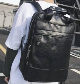 โปรโมชั่น!!กระเป๋าสะพายหนัง เป้สะพายหลัง วินเทจ เหลี่ยม แต่งซิบด้านบน ดำ
