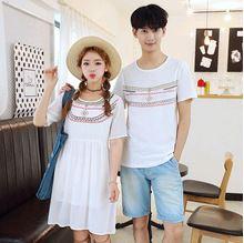 เสื้อคู่รัก แฟชั่นคู่รัก ชายเสื้อยืดคอกลม + เดรสคอกลม สีขาว แต่งลายไทย +พร้อมส่ง
