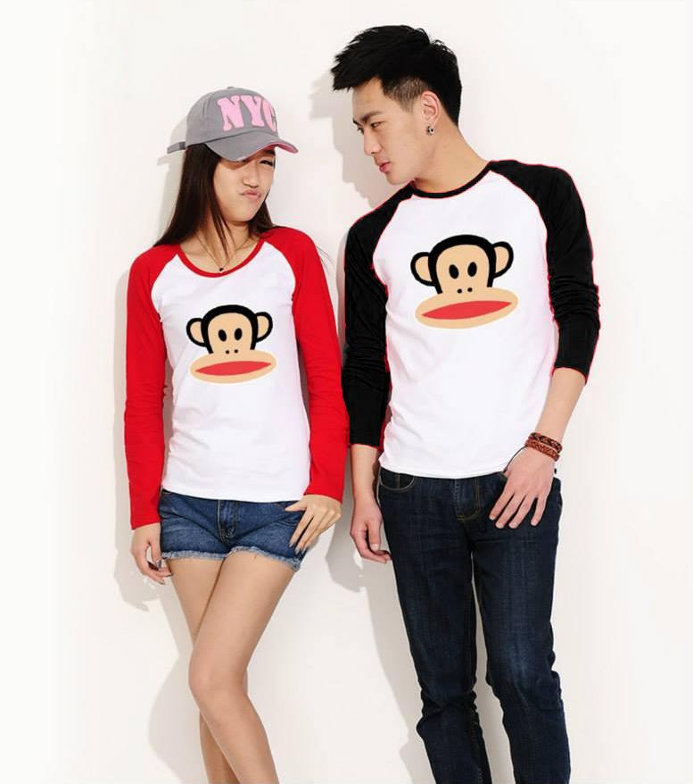 เสื้อแขนยาวคู่รัก ชาย เสื้อแขนยาวคู่รัก แขนสีดำ +หญิง เสื้อแขนยาวคู่รัก สีขาว แขนสีแดง แต่งสกรีน ลิงตรงกลาง +พร้อมส่ง+