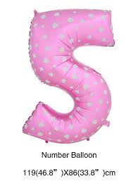 """ลูกโป่งฟอยล์รูปตัวเลข 5 สีชมพูพิมพ์ลายหัวใจ ไซส์จัมโบ้ 40 นิ้ว - Number 5 Shape Foil Balloon Size 40"""" Pink Color printing Heart"""
