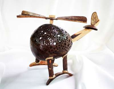 Coconut Shell Lamp Crafts Helicopter โคมไฟกะลามะพร้าวรูปเครื่องบิน