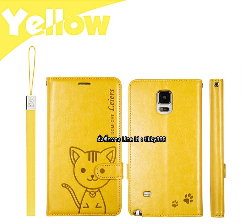 เคสฝาพับ Galaxy Note 4 รุ่น Leiers Domi Cat สีเหลือง สุดยอดเคสไดอารี่คุณภาพดี!