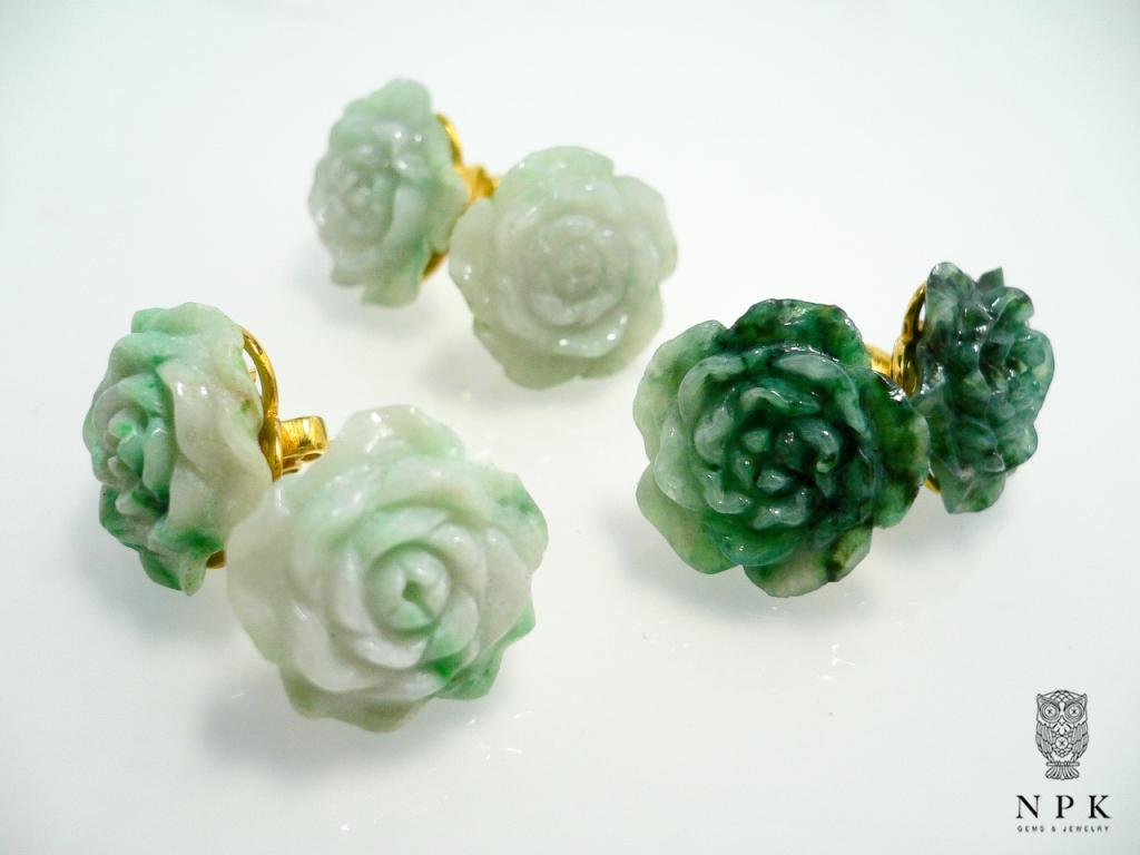 ต่างหูเงินหยกพม่าแกะสลัก (Burma Jade Earring)