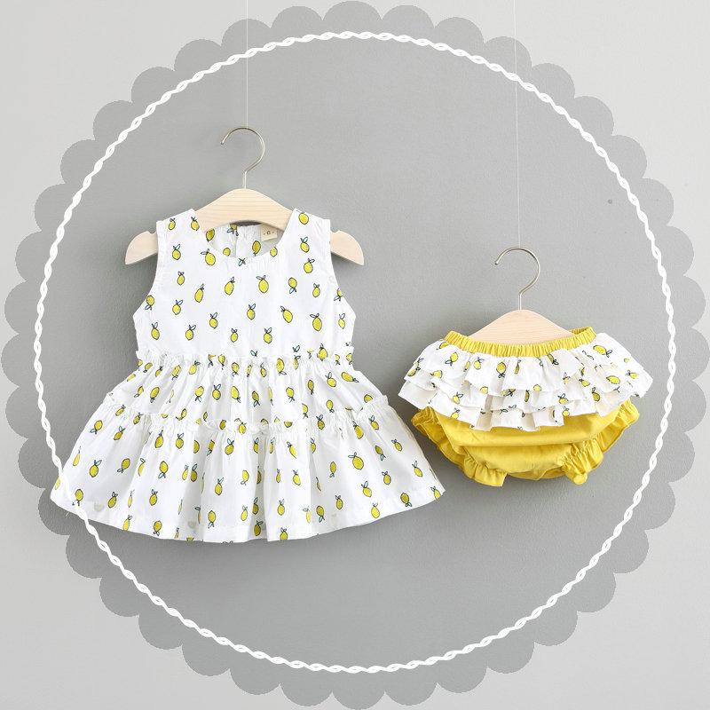 ชุดเซตเสื้อสีขาวลายเลมอน+กางเกงใน แพ็ค 4 ชุด [size 6m-1y-18m-2y]