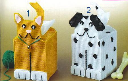 ชุดปักแผ่นเฟรมกล่องทิชชูลายแมวกับหมา เลือกลายด้านล่างค่ะ