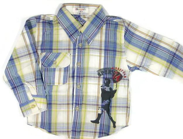 SH005 เสื้อเชิ้ตเด็กแขนยาว ผ้าคอตตอน ลายตารางสีน้ำเงิน กระเป๋าตรงอก สกรีน International Sport Winner Cup Size 8/10/12