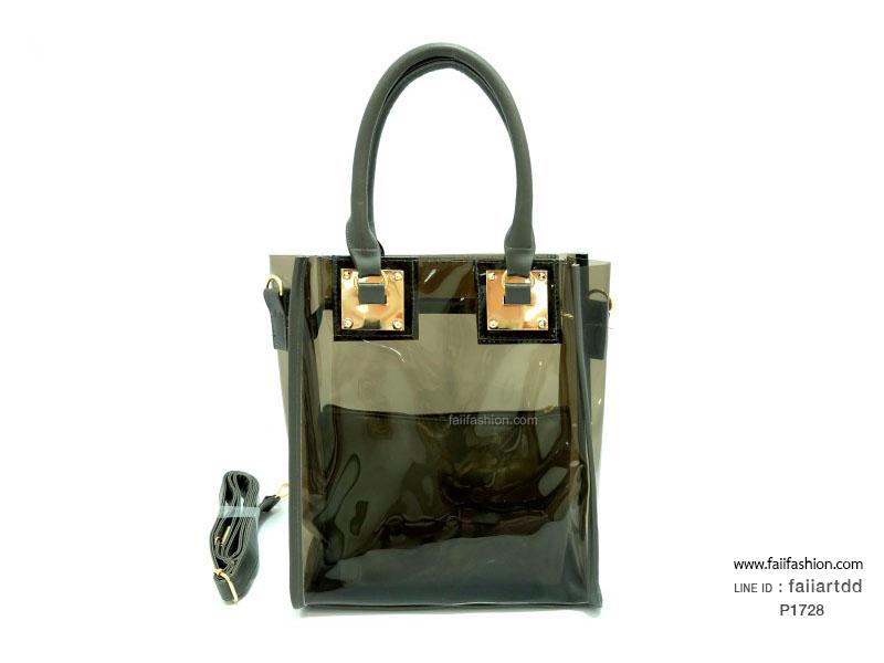 กระเป๋าพลาสติกใส ตัดเย็บสลับหนัง แต่งอะไหล่แผ่นเหล็ก ใบเล็กแยกออกมาได้