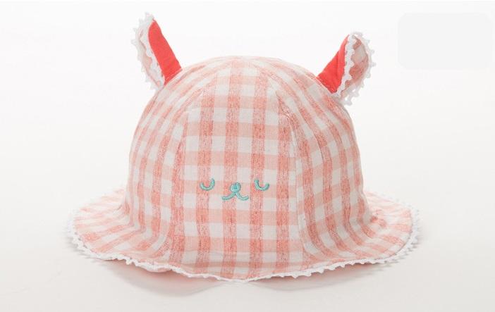 หมวกปีกกว้างลายสก็อตสีชมพูลายหน้าหมี แพ็ค 3 ชิ้น