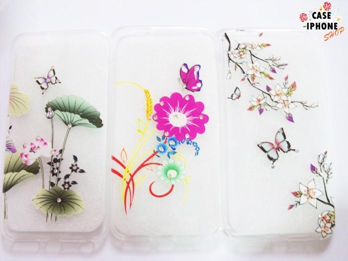 เคส tpu ลายดอกไม้แต่งเพชร ไอโฟน 6/6s plus 5.5 นิ้ว