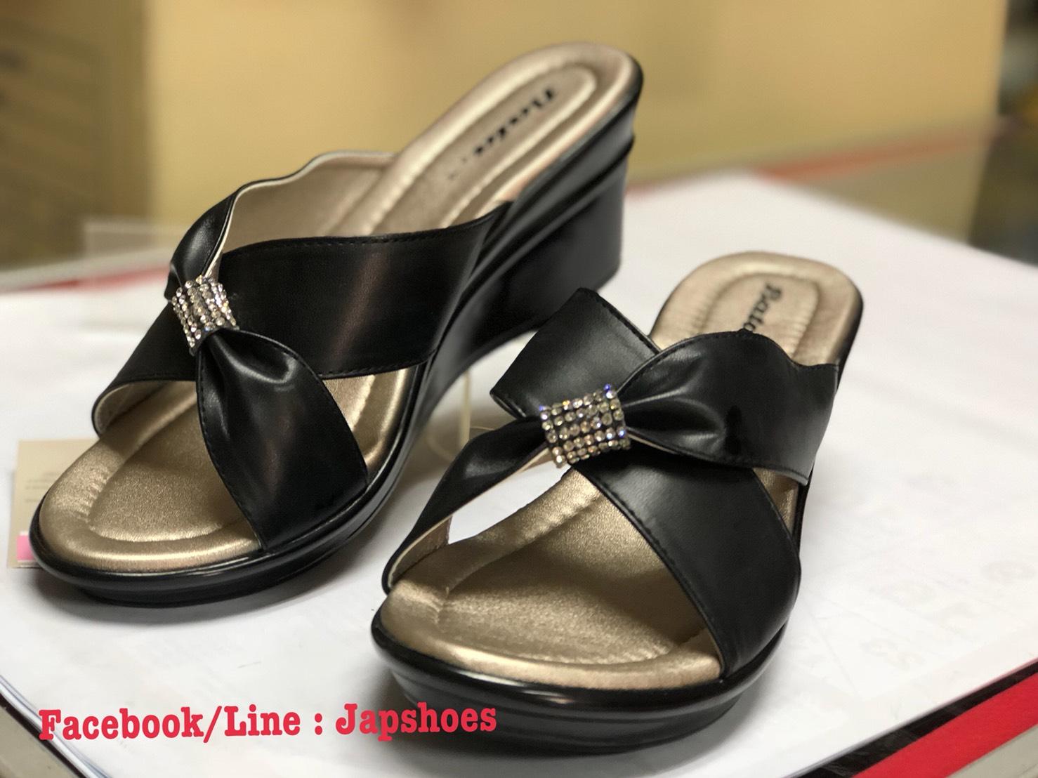 รองเท้าบาจารุ่นโบเพชร สีดำ