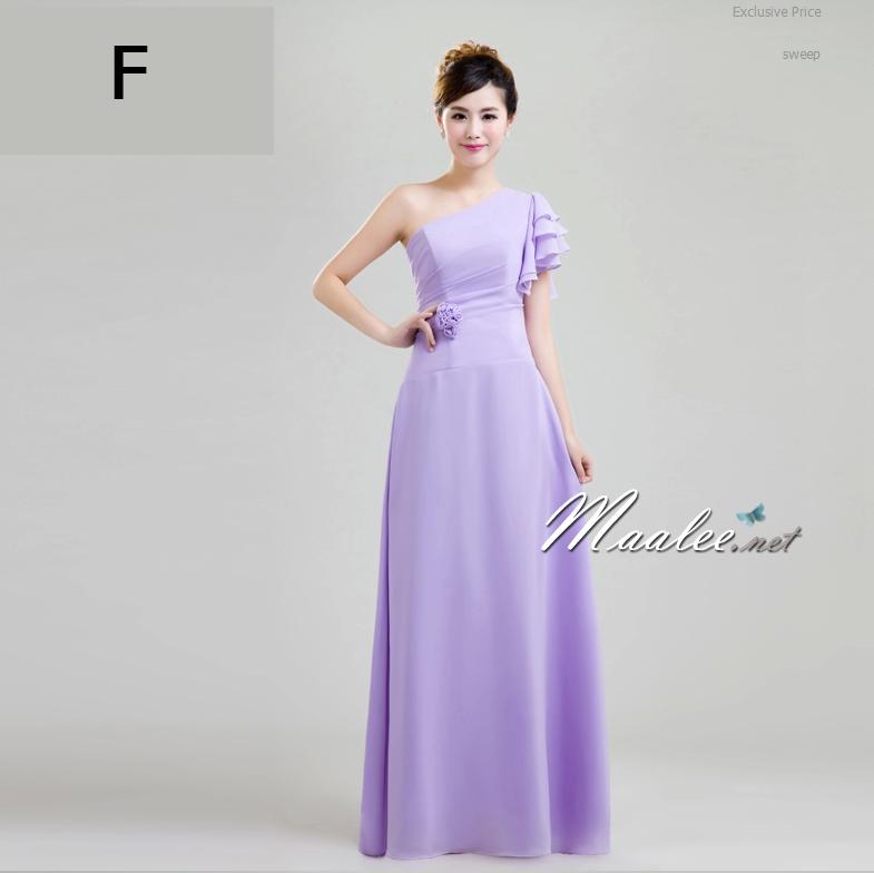 พร้อมเช่า ชุดราตรียาว ชุดเพื่อนเจ้าสาว สีม่วงอ่อน Lavender Lv-002F