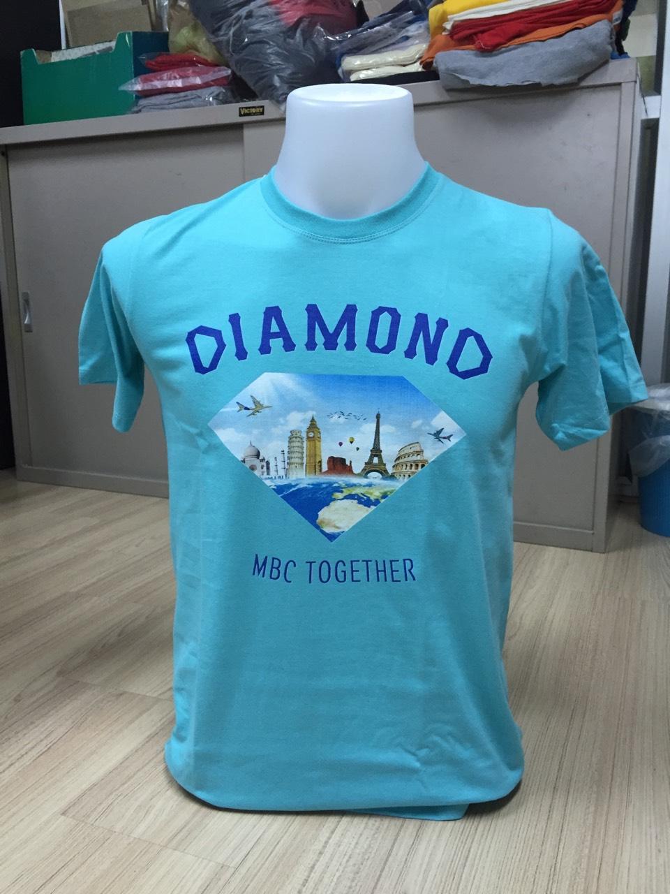 เสื้อยืดสีฟ้า พิมพ์ลายด้านหน้าด้วยระบบ DTG