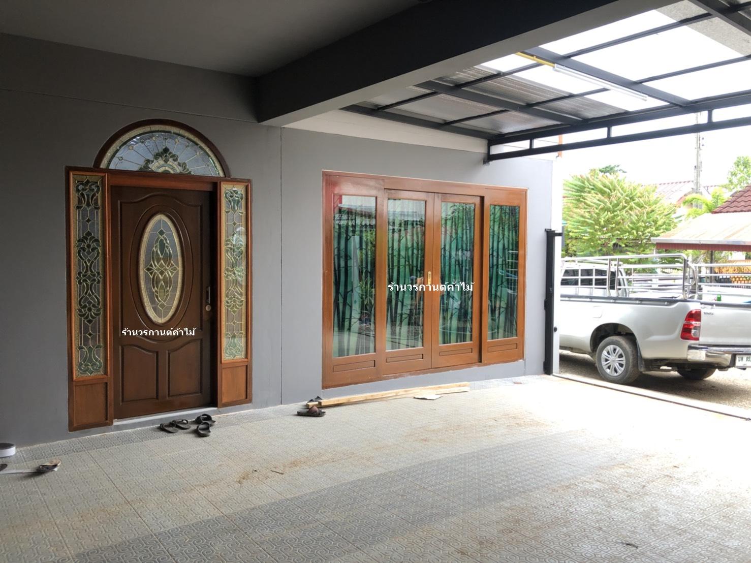 ประตูไม้สักกระจกนิรภัย ชุด4ชิ้น รหัสAAA112