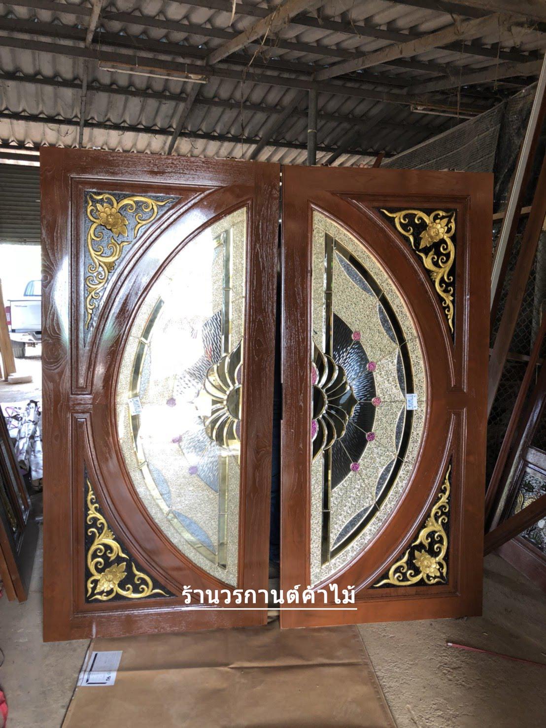 ประตูไม้สักกระจกนิรภัยแตง โมเต็มบาน ชุด 4ชิ้น เกรด A รหัส AAA59