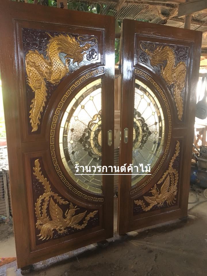 ประตูไม้สักกระจกนิรภัย แกะมังกร,หงส์ เกรดA รหัส A146