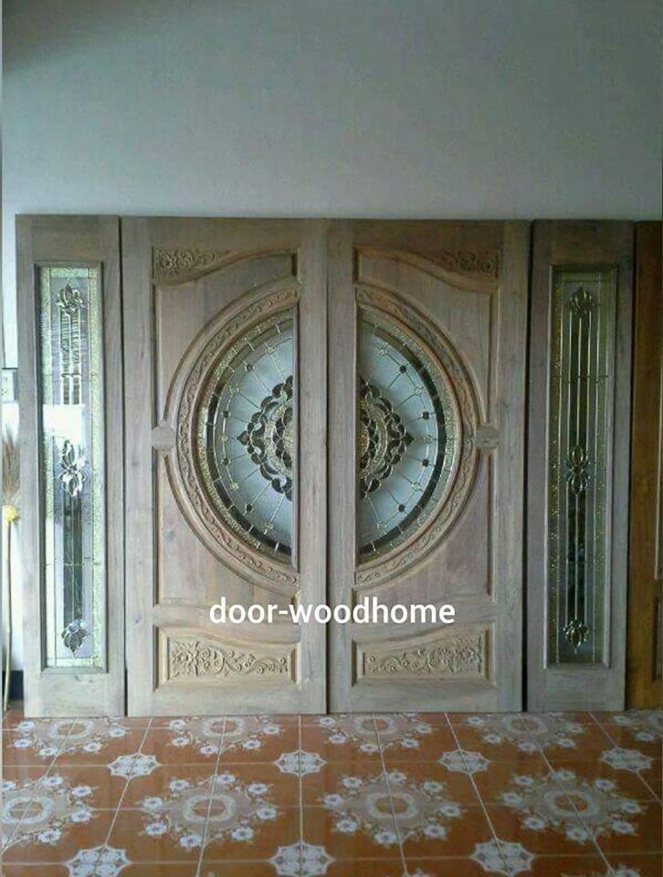 ประตูไม้สักกระจกนิรภัย เกรดA ชุด 4ชิ้น รหัส NOT13