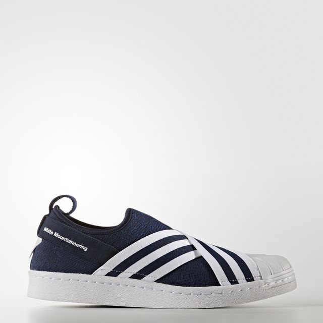 WHITE MOUNTAINEERING PRIMEKNIT SUPERSTAR SLIP-ON SHOES Navy