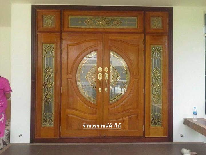 ประตูไม้สักกระจกนิรภัยบานเปิด-ปิด ชุด7ชิ้น รหัส AAA31