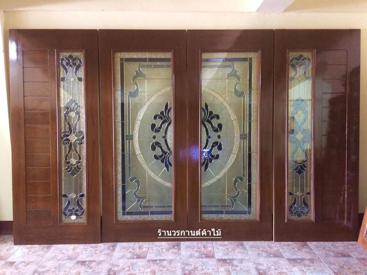 ประตูไม้สักกระจกนิรภัยเต็มบาน ชุด4ชิ้น รหัสAAA30