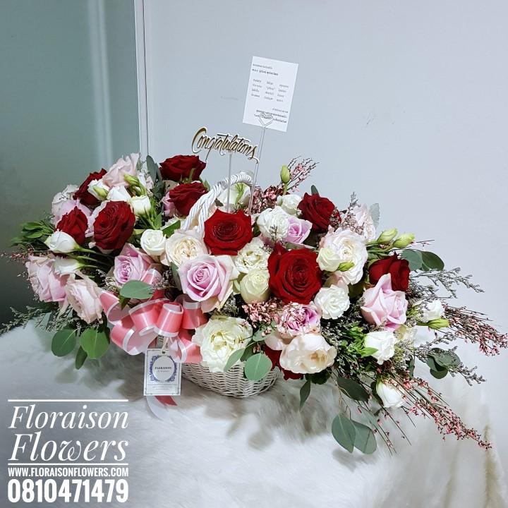 กระเช้าดอกไม้ ดอกกุหลาบ (XL)