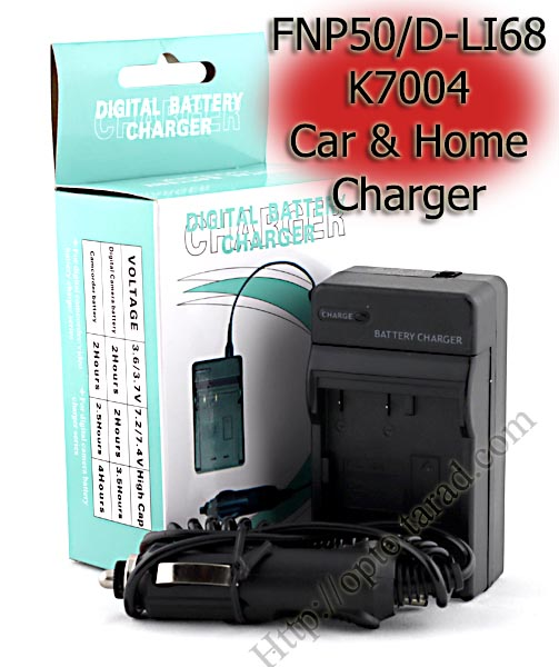 Home + Car Battery Charger For FUJIFILM FNP50/D-LI68/K7004
