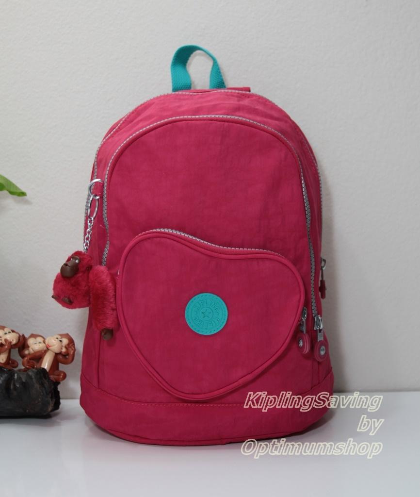 Kipling Heart Flamboyant Pink กระเป๋าสะพายหลังใบเล็ก เบลเยี่ยม ขนาด 24 L x 31.5 H x 14 W cm