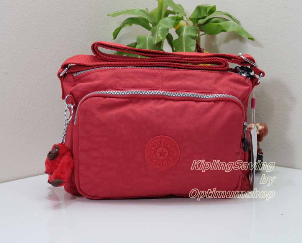 Kipling Reth Cardinal Red กระเป๋าสะพาย หลายช่องซิป จุมาก น่าใช้ ขนาด 27 L x 17.5 H x 15 W cm