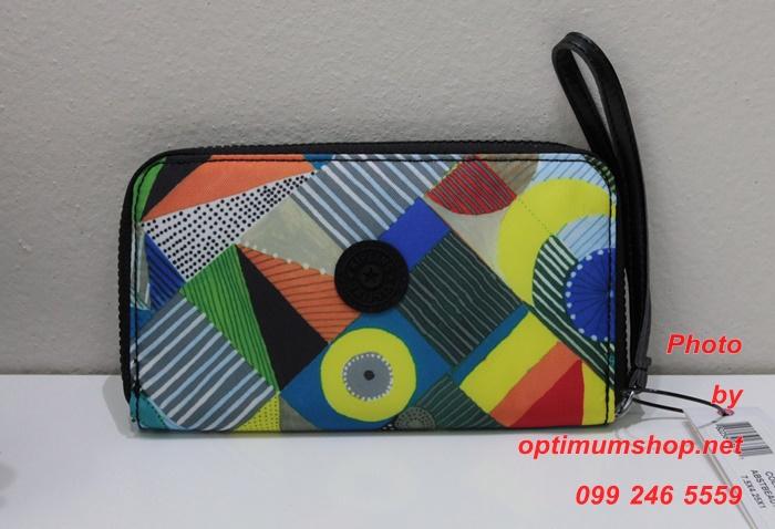 Kipling Morrie Abstract Beauty กระเป๋าสตางค์แบบซิปรอบพร้อมสายคล้องมือ ขนาด L 7.5 x H 4.25 x D 0.75 นิ้ว