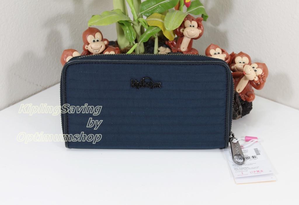 Kipling Nimmi Craft Blue เป็นกระเป๋าสตางค์ใบยาวแบบซิปรอบ ขนาด 18.5 W x 10 H x 2 D cm