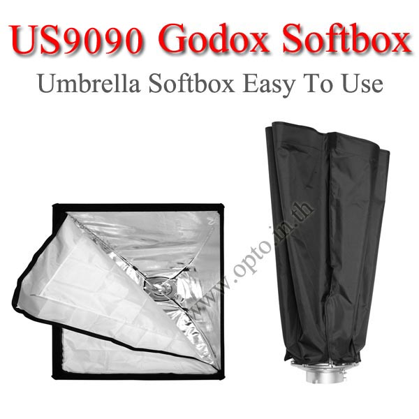 US9090 Umbrella SoftBox Bowen's Mount , Rectangular 90×90CM ซอฟท์บ๊อกซ์ไฟสตูดิโอ