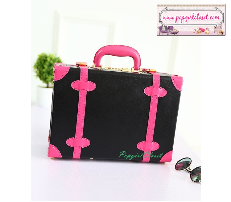 """กระเป๋าสะพายวินเทจสไตล์เกาหลี สีดำคาดชมพูเข้ม ไซส์ 12"""" หรือ 14"""" BLACK/ROSE PINK Beauty Bag Vintage Korea Style (Pre-order ราคาสินค้าอยู่ด้านใน)"""