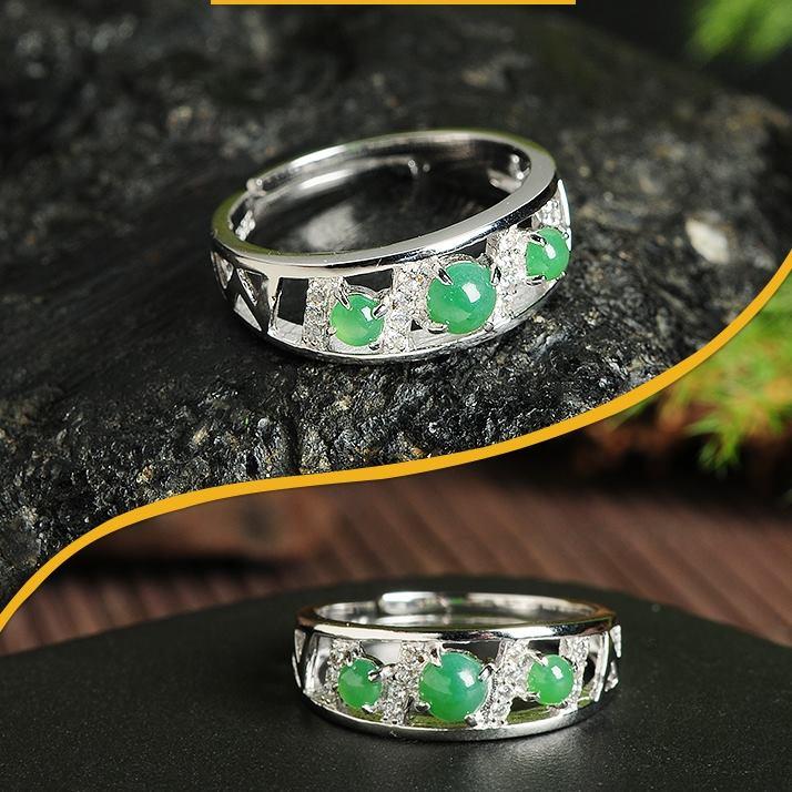 แหวนหัวหยก Tian Biyu สีเขียวจักรพรรดิ