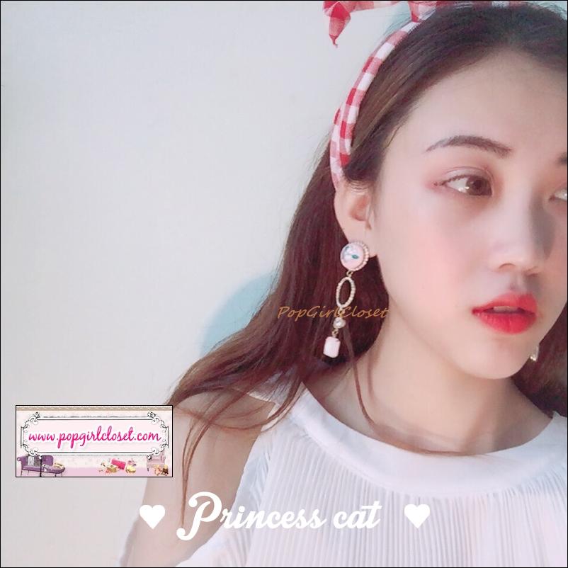 ต่างหูแฟชั่นสไตล์เกาหลี Korean Vintage Embroidery Flower Earrings Brincos Rhinestone Circle Square Pendant Boucle D'oreille Femme
