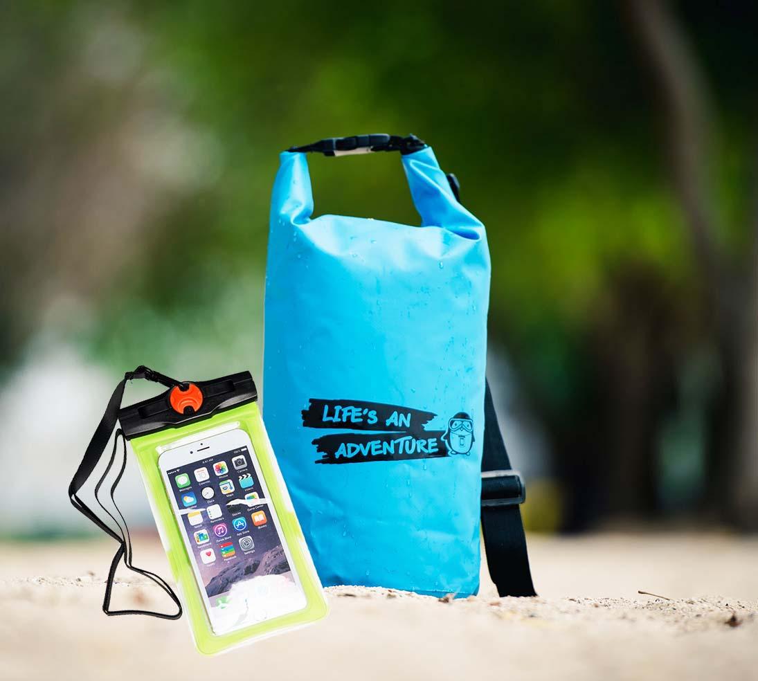ชุด Set ซองกันน้ำมือถือใหญ่ (6 นิ้ว) สีเขียว + กระเป๋ากันน้ำ Penguin Bag ขนาด 10 ลิตร