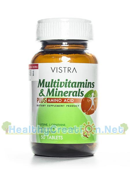 Vistra Multivitamins & Minerals Plus Amino Acid วิตามินรวม เกลือแร่ และสารต้านอนุมูลอิสระจากธรรมชาติ