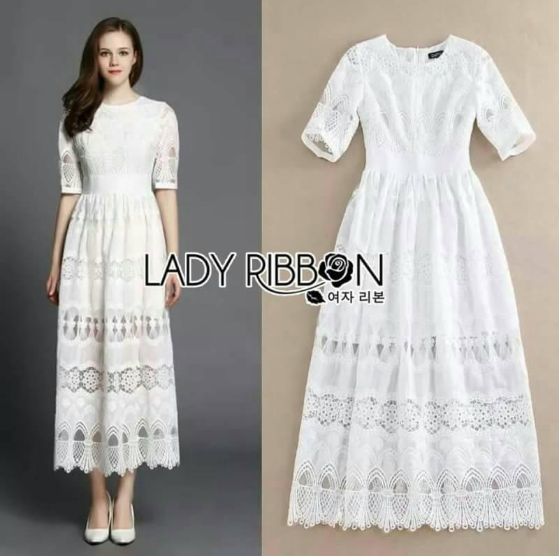 เดรสยาวสีขาวลูกไม้ลายฉลุ Lady Ribbon พร้อมส่งไซส์ M ค่ะ