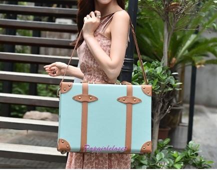 กระเป๋าสะพายวินเทจเรโทรสไตล์เกาหลี ฺBABY BLUE / Light Brown ไซส์ 16 นิ้ว PU Leather Vintage Retro Korea Style (Pre-order)