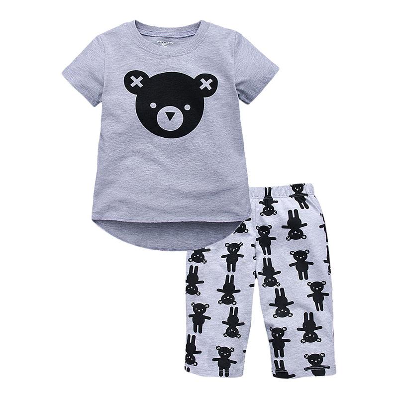 W044 : Set 2 ชิ้น เสื้อแขนสั้นสีเทาพิมพ์ลายหมี + กางเกงขายาวสีเทาลายหมี