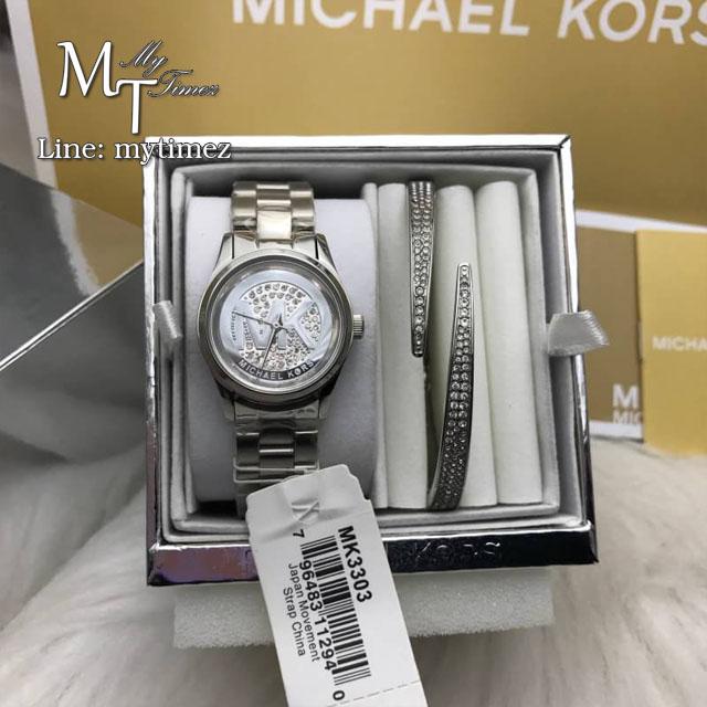 MICHAEL KORS Petite Runway Silver Pave Dial Stainless Steel Ladies Watch MK3303 + Bracelet Set