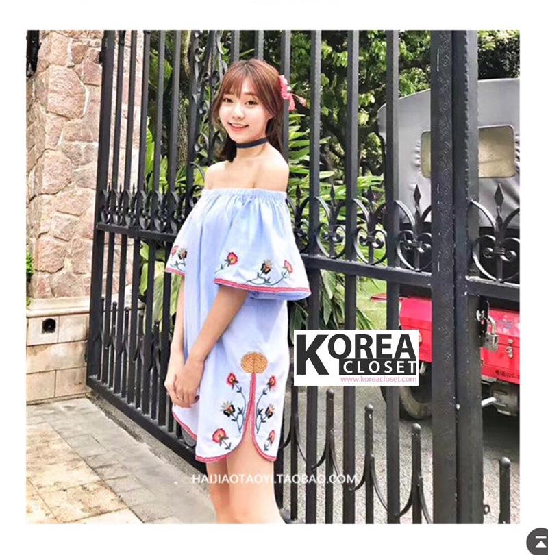 ชุดเดรสแฟชั่น Zara Embroidery Off-Shoulder Dress