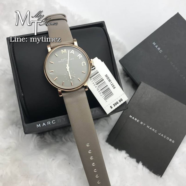 นาฬิกาข้อมือ MARC BY MARC JACOBS Baker Grey Dial Gravel Gray Leather Ladies Watch MBM1266