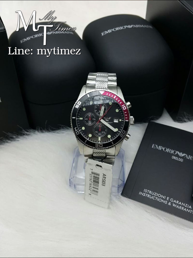 Emporio Armani Men's Chronograph Watch Stainless Black Dial AR5855