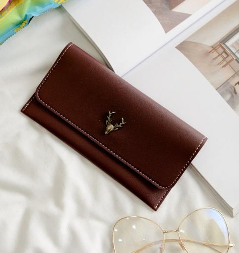 กระเป๋าสตางค์ผู้หญิง Leather 001 สีน้ำตาล