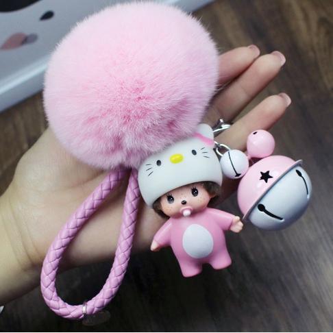 พวงกุญแจ ขนฟู รุ่น Baby doll สีชมพู 02